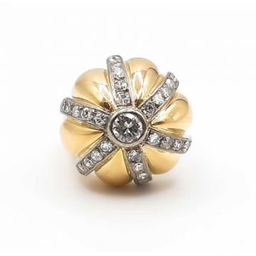 bague en or jaune et blanc 750 avec diamants