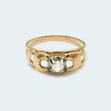 Bague ancienne or jaune et or blanc  avec diamant