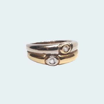 bague moderne deux ors avec diamants sertis clos