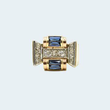 Bague moderne en or avec saphirs et diamants