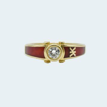 bague korloff diamant serti clos laquée rouge