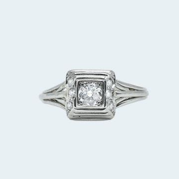 Bague or blanc et platine avec diamants