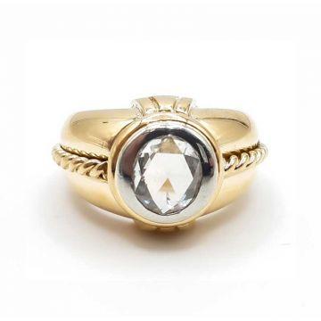 Bague or jaune et or blanc avec diamant et torsades