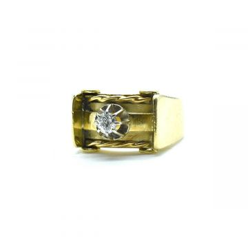 Bague tank en or jaune avec diamant