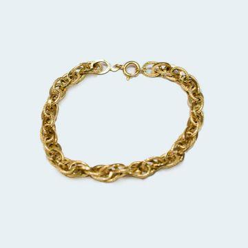 Bracelet ancien en or jaune avec maillons texturés