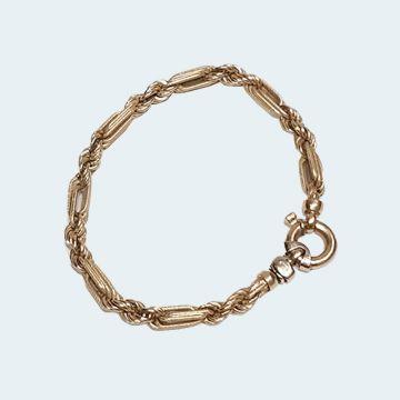 bracelet moderne or jaune avec maille corde