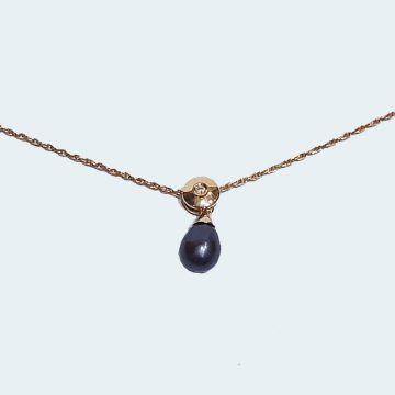 Collier ancien avec perle de tahiti et brillant