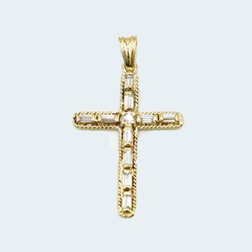 Pendentif croix avec quartz