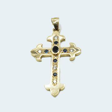 Pendentif ancien en or jaune 18 carats en forme de croix