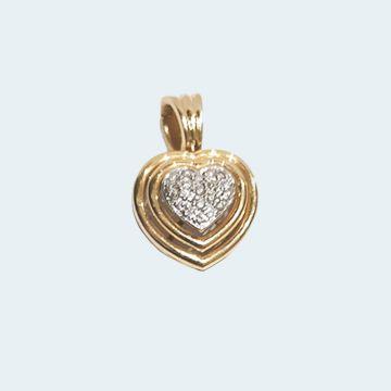 Pendentif moderne en forme de coeur deux ors
