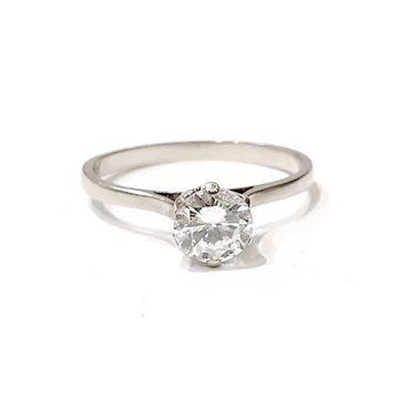 Solitaire or blanc surmonté d'un diamant